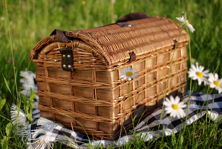 wicker basket with a cloth on the grass, sunny day Stock Photo