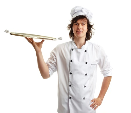 young cook with tray