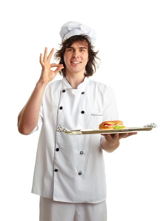 funny cook with sandwich