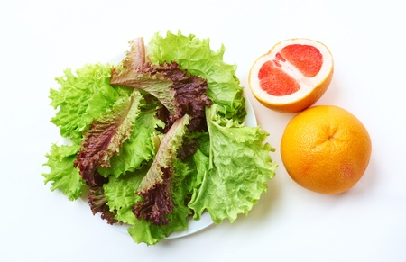 various salad and grapefruits
