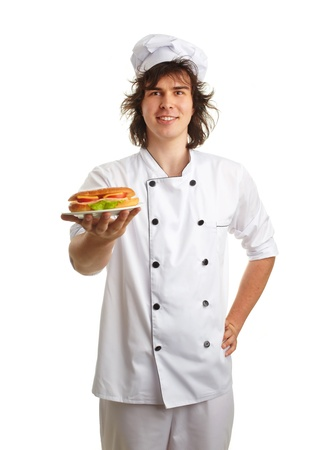 young cook with sandwich