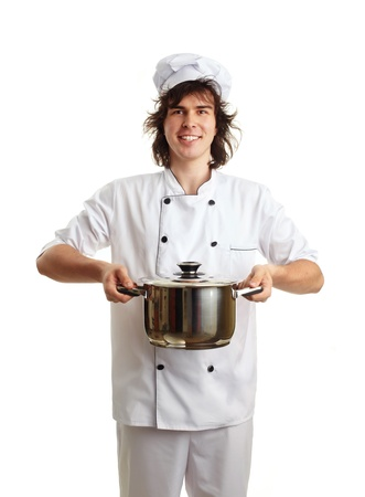 funny young chef with pot