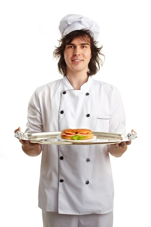young funny chef with sandwich Stock Photo