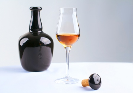 composition  with  bottle and glass of brandy Stock Photo
