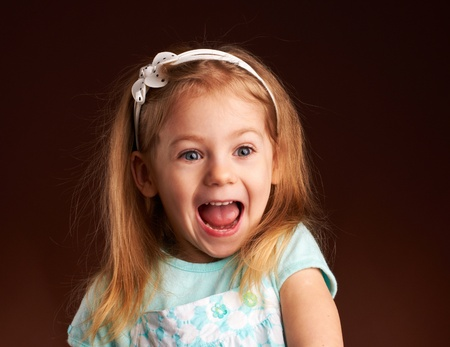 very emotional portrait of  little girl Stock Photo