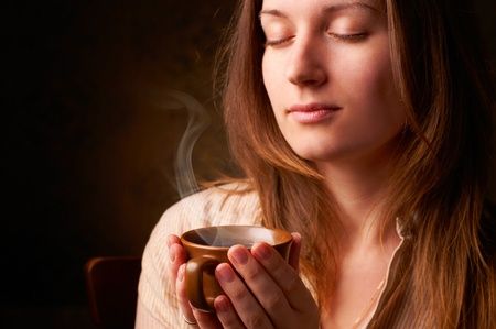 beautyful girl with cup of coffee Stock Photo