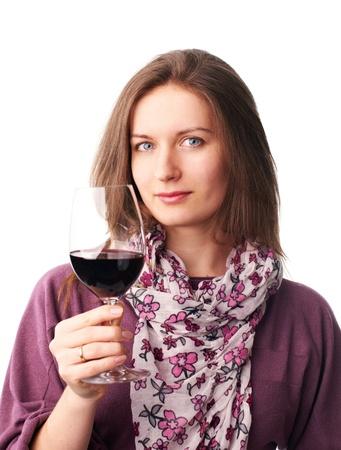 beautyful woman with a glass of red wine