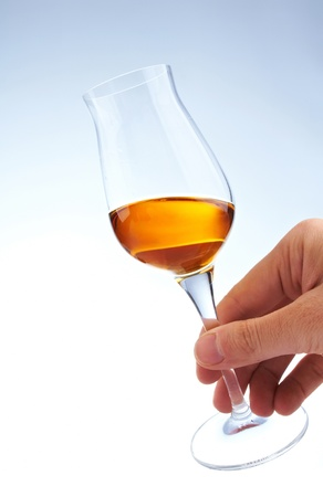glass of brandy in the hand