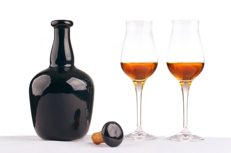 composition  with  bottle and brandy glasses