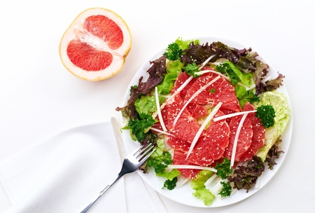 composition  with  salad and grapefruit