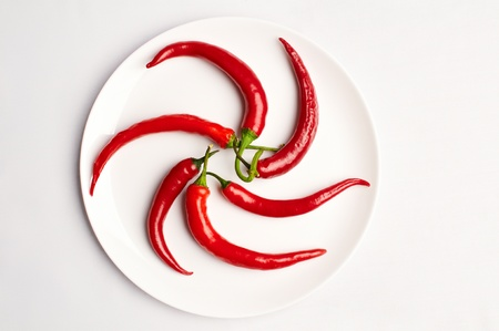 pepper composed in the form of star on the plate