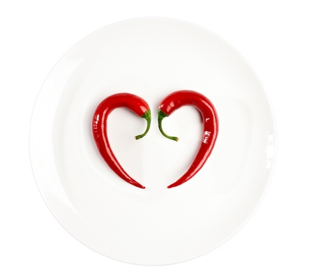 pepper composed in the form of heart on the plate