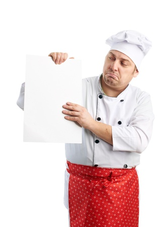 funny chef looks at the menu Stock Photo