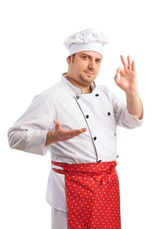 smiling chef in uniform shows fingers photo