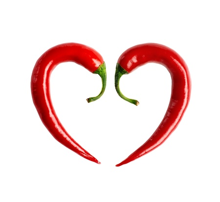 pepper composed in the form of heart  Stock Photo