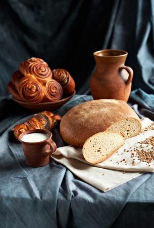 bread and milk, still life