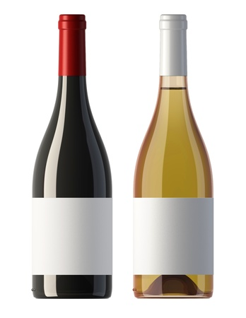 two merged pictures of burgundy shape red and white wine bottles with blank labels, 3D.