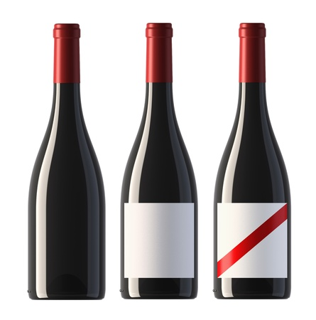 three merged pictures of burgundy shape red wine bottles with blank labels and without label, 3D.