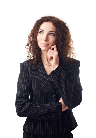 Attractive businesswoman thinking Stock Photo