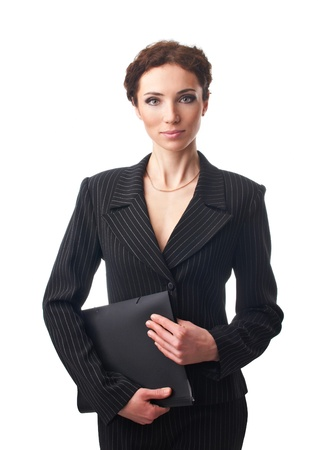 Attractive businesswoman with folder in his hands