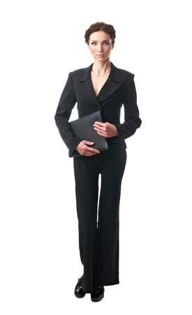 Attractive businesswoman with folder Stock Photo