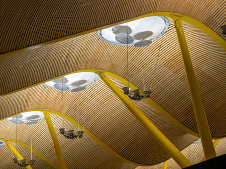 gable: gable roof construkton, airport in madrid, lighting