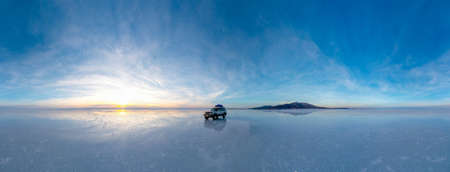 salt lake uyuni in bolivia is a big dry lake of salt