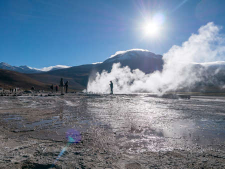 geysers: Valley Geysers at El Tatio northern Chile at Sunrise Atacama Region close to the Bolivian border