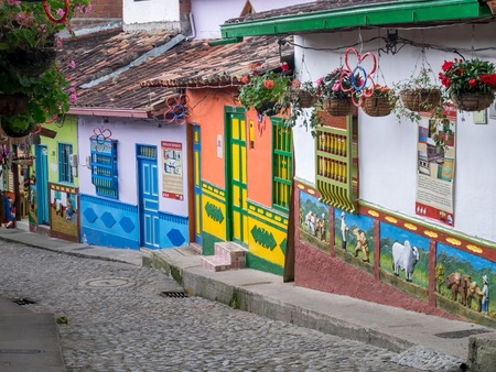 Brightly colored street in town of Guatape in Antioquia, Colombia Editorial