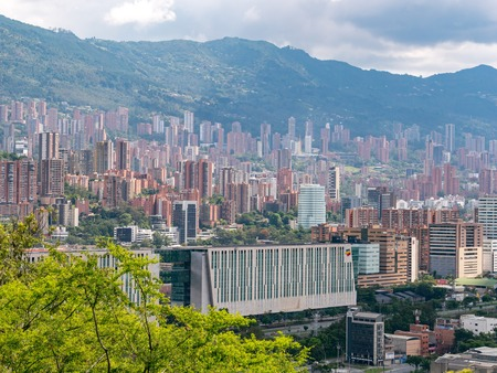 Cityscape and panorama view of Medellin, Colombia. Medellin is the second-largest city in Colombia. It is in the Aburr? Valley, one of the most northerly of Andes in South America.