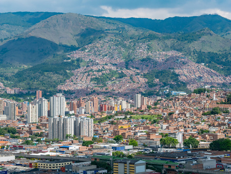 Cityscape and panorama view of Medellin, Colombia. Medellin is the second-largest city in Colombia. It is in the Aburr? Valley, one of the most northerly of Andes in South America. Editorial