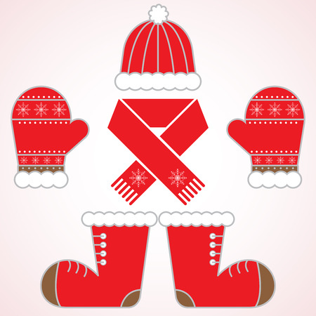 Christmas set of winter clothes: red hat, scarf, mittens and socks. Ilustrace