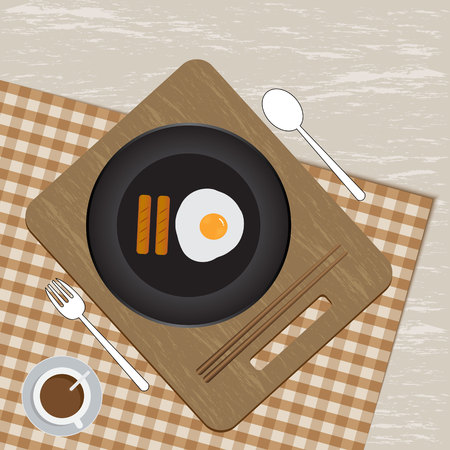 Breakfast plate with sausage, egg and coffee. Flat style vector illustration.