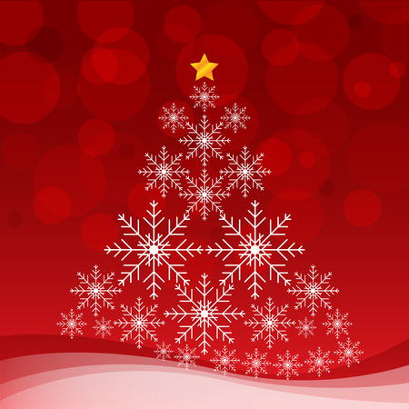 Christmas tree with white snowflake on red background. Vector illustration card.