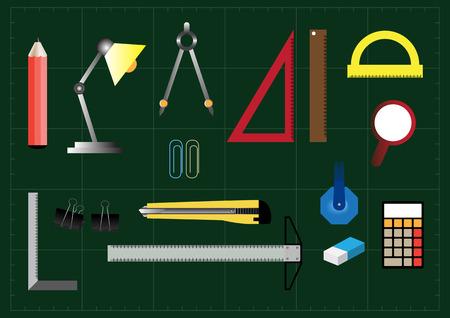 rubber sheet: School Equipment Set. Vector illustration.