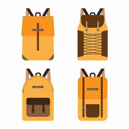 School and Sport backpacks collection on white, four different versions. Vector illustration.