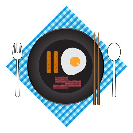 Breakfast plate with sausage and egg. Flat style vector illustration.