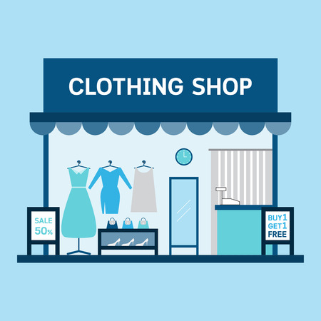 boutique display: Clothing shop building and interior with products. Vector illustration.