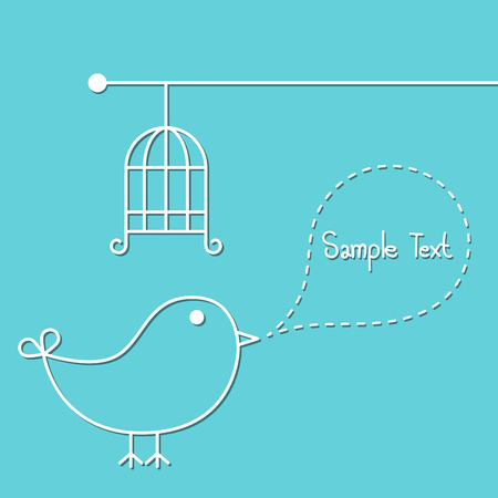 Cute bird with speech bubble and caged in linear style.