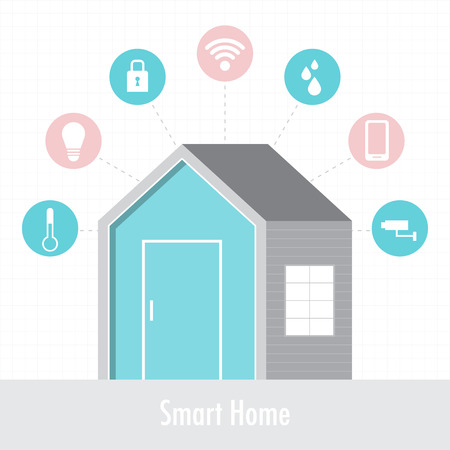 smart: Smart home concept of flat design style vector illustration.