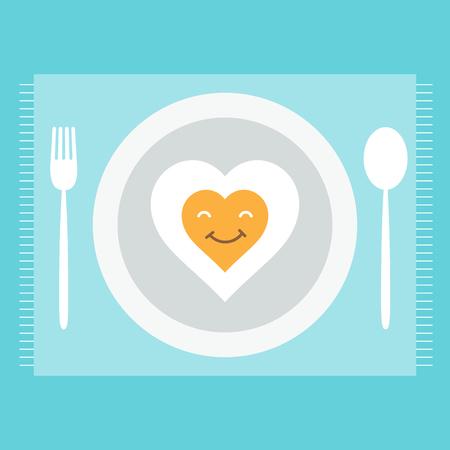 Heart egg breakfast on Valentines day. Illustration