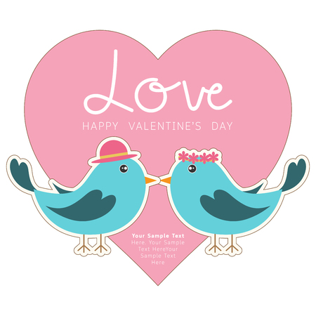 flying kiss: Couple of cute birds with love heart. Card for Valentine day and wedding. Illustration