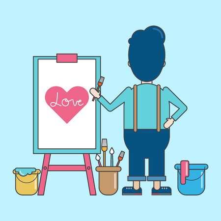 Artist painting heart on canvas character design. Illustration