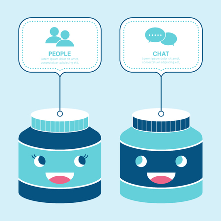cruet: Bottle mockup container smile infographic concept. Illustration