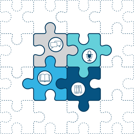 four objects: Puzzle piece with icon flat vector design. Illustration