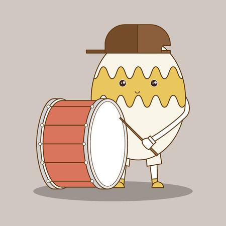Egg character playing big drum. Vector illustration. Illustration