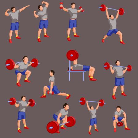 illustration of set bodybuilders in color Illustration