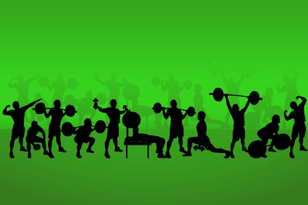 illustration of set of bodybuilders on green back