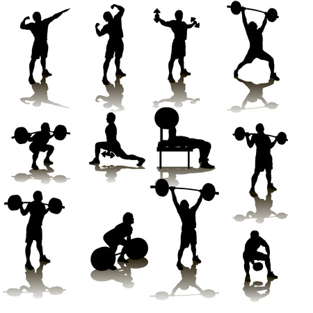 working out: silhouette illustration of deifferent male atheletes wivh are working out Illustration