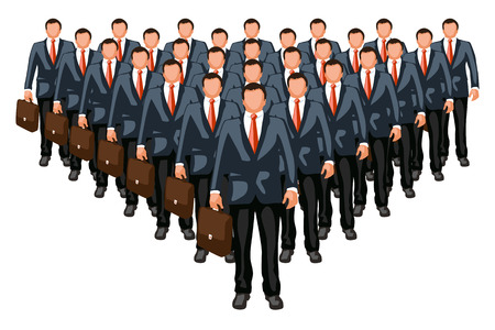 business team: illustration of business team with leader in front isolated Illustration